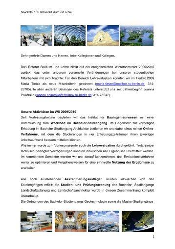 Newsletter 01, 2010 (PDF, 202,5 KB) - Fakultät VI Planen Bauen ...