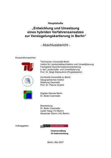Abschlussbericht - Fakultät VI Planen Bauen Umwelt - TU Berlin