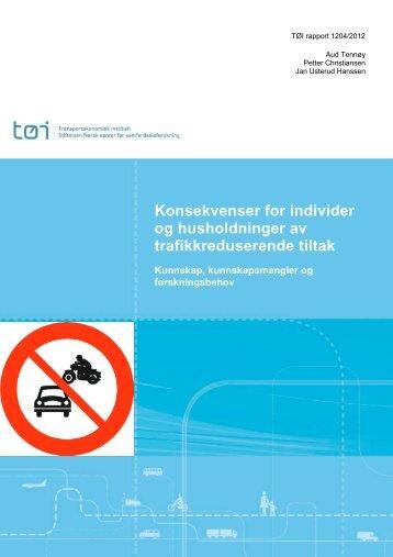 Konsekvenser for individer og husholdninger av trafikkreduserende ...