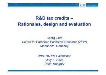R&D tax credits – Rationales, design and evaluation - DIMETIC