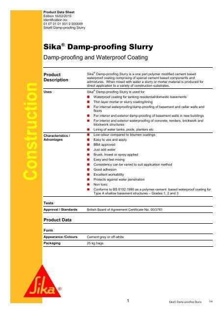 PDF] Sika Damp proofing Slurry - Sika UK