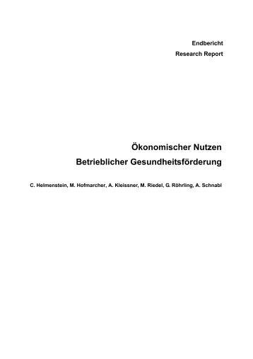 Ökonomischer Nutzen Betrieblicher ... - Sportministerium