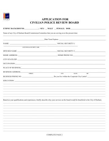 application for civilian police review board - City of Durham