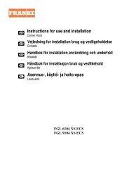 Instructions for use and installation Asennus-, käyttö- ja ... - Franke