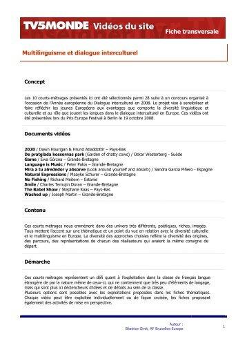 Télécharger la fiche pédagogique transversale (pdf) - TV5 Monde