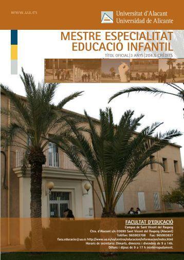 MESTRE ESPECIALITAT EDUCACIÓ INFANTIL