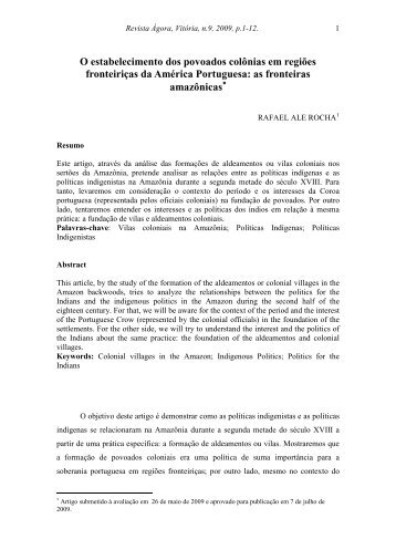 O estabelecimento dos povoados colônias em regiões fronteiriças ...