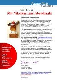 Mit Nikolaus zum Abendmahl - Commclubs Bayern