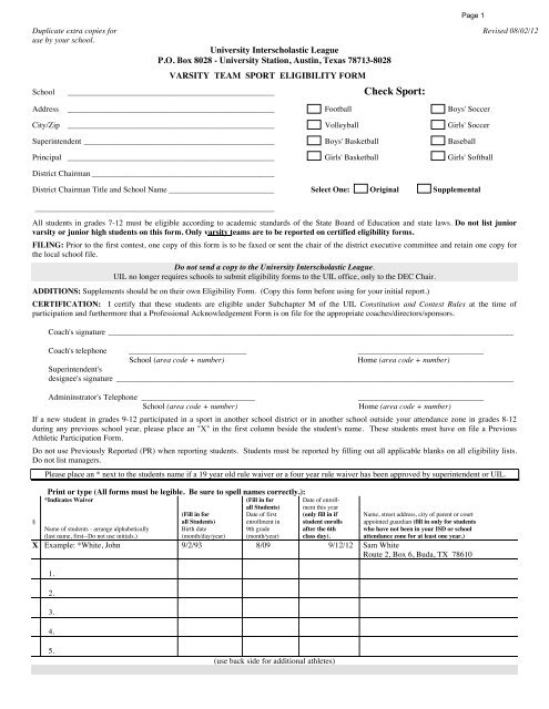 Varsity Team Sport Eligibility Form - University