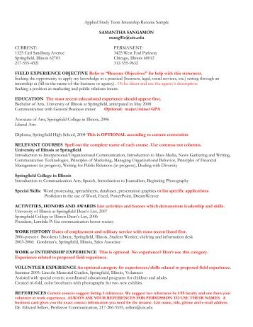 Resume And Cover Letter Suggestions   University Of Illinois .  Cover Letter Suggestions