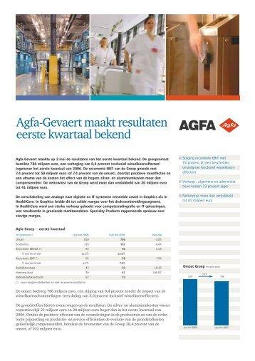 Agfa-Gevaert maakt resultaten eerste kwartaal bekend