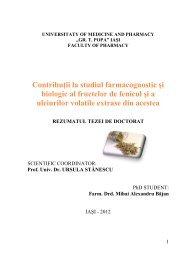 Contribuţii la studiul farmacognostic şi biologic al ... - Gr.T. Popa