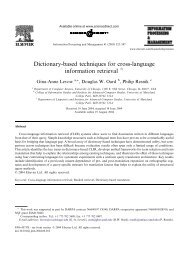 Dictionary-based techniques for cross-language information retrieval