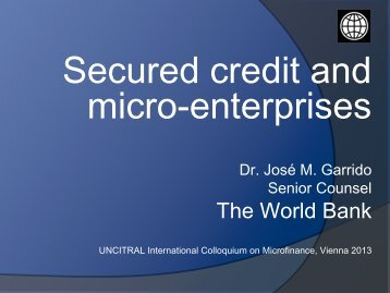 Secured credit and micro-enterprises - uncitral