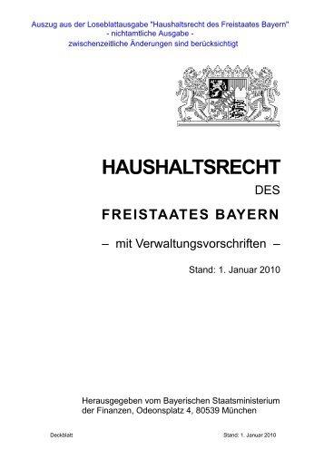 Haushaltsrecht des Freistaates Bayern - Auszug