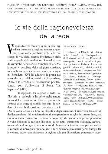 le vie della ragionevolezza della fede - Università di Palermo