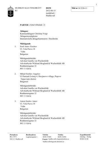 HUDIKSVALLS TINGSRÄTT R1 DOM B 2220-11 2012-06-15 ...