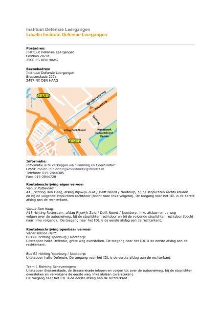 Routebeschrijving Instituut Defensie Leergangen - TNO