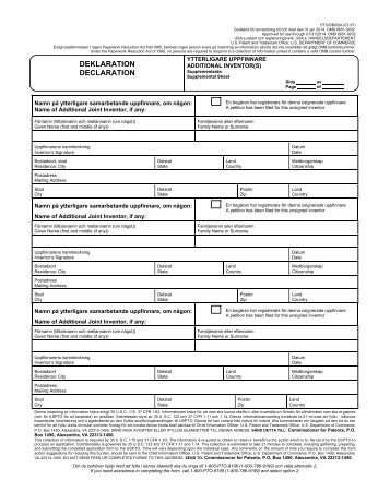 deklaration declaration - United States Patent and Trademark Office