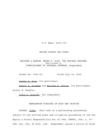 TC Memo. 2005-172 - U.S. Tax Court