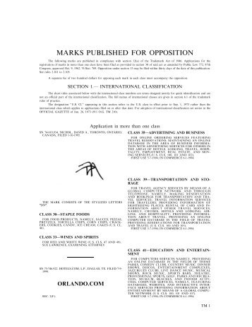 Tmi 50 official gazette m - United states patent and trademark office ...