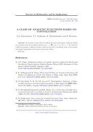 A CLASS OF ANALYTIC FUNCTIONS BASED ON CONVOLUTION ...