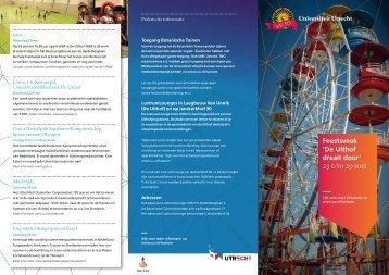 Feestweek flyer - Universiteit Utrecht