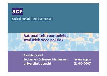Rationaliteit voor beleid, statistiek voor politiek - Universiteit Utrecht