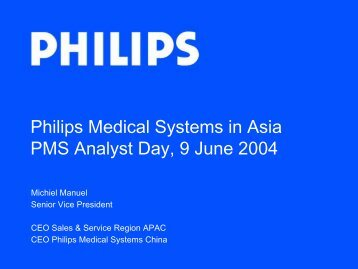 Philips Medical Systems in Asia PMS Analyst Day, 9 June 2004