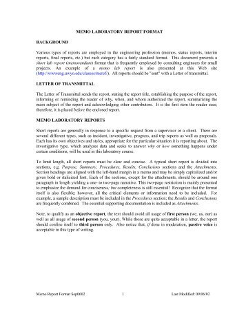 MEMO LABORATORY REPORT FORMAT BACKGROUND Various ...