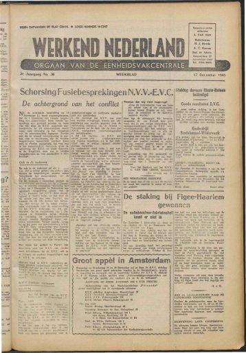 Werkend Nederland (1945) nr 36 - Vakbeweging in de oorlog