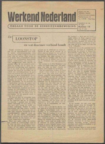 Werkend Nederland (z.j.) nr 13 - Vakbeweging in de oorlog