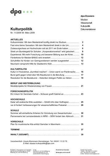 Kulturpolitik - dpa