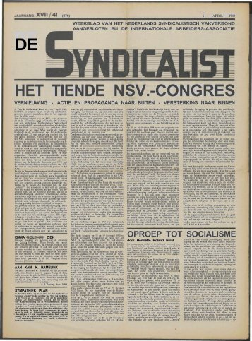 OPROEP TOT SOCIALISME - Vakbeweging in de oorlog