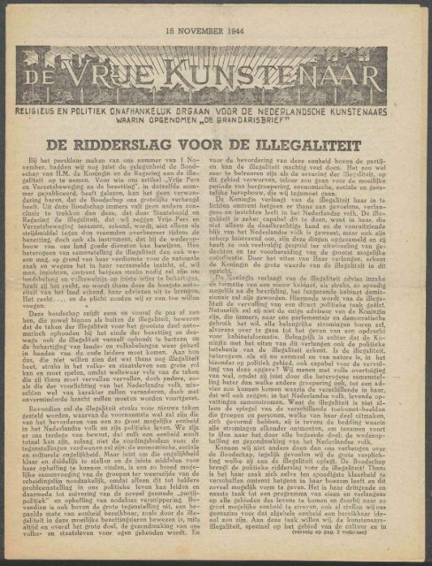 De Vrije Kunstenaar (november 1944) - Vakbeweging in de oorlog