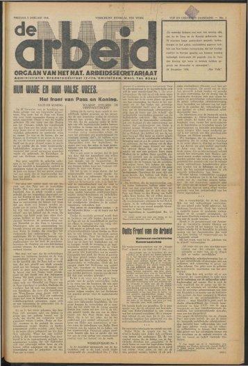 De Arbeid (1940) nr. 1 - Vakbeweging in de oorlog