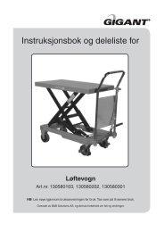 Instruksjonsbok og deleliste for - Luna Norge AS