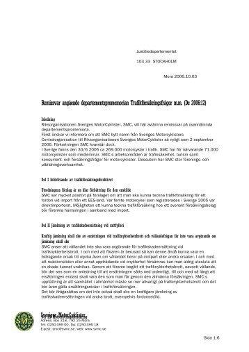 Remissvar angående departementspromemorian ... - SMC