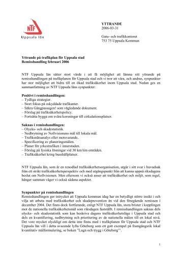 remissvar trafikplan Uppsala - NTF