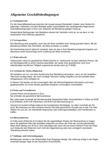 Allgemeine Geschäftsbedingungen - Burgart-Presse