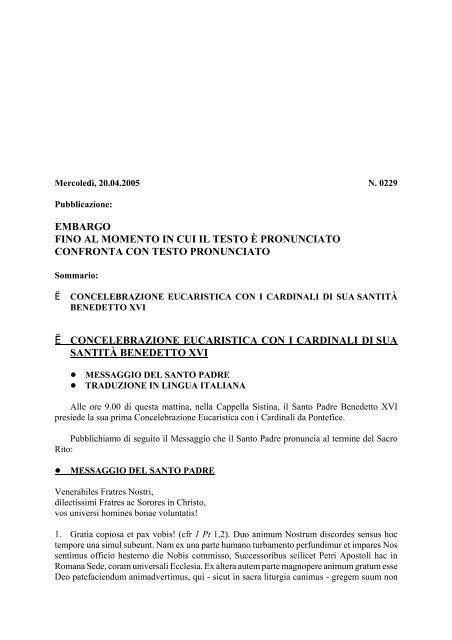 EMBARGO FINO AL MOMENTO IN CUI IL TESTO È ... - La Santa Sede