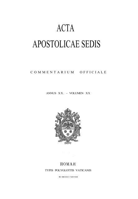 AAS 20 [1928] - La Santa Sede