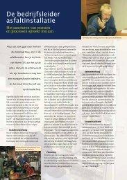 De bedrijfsleider asfaltinstallatie - VBW-Asfalt