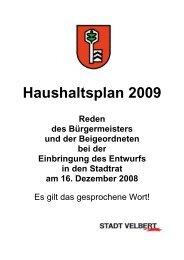 Reden anlässlich der Einbringung des ... - Stadt Velbert