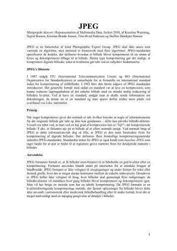 Miniprojekt skrevet i Repræsentation af Multimedia Data ... - CVMT