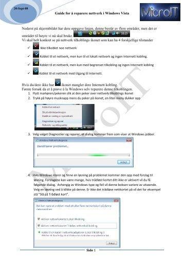 Guide for å reparere nettverk i Windows Vista Nederst på ...