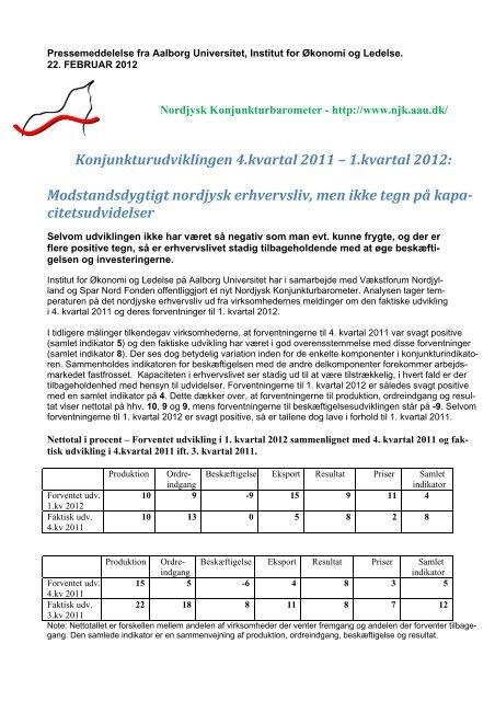 Nordjysk Konjunkturbarometer - 2012 - 1. kvartal - Region Nordjylland
