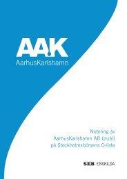 Notering av AarhusKarlshamn AB (publ) på ... - AAK