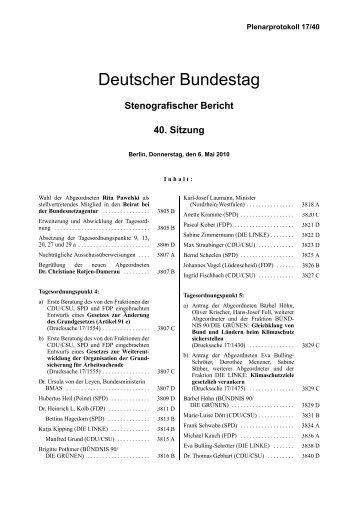 Deutscher Bundestag - Stenografischer Bericht - 40 ... - wir in der BA