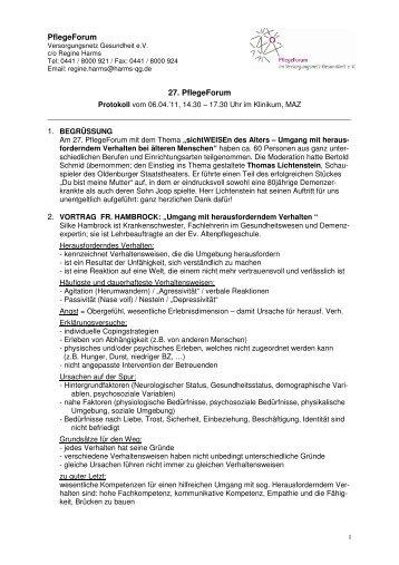 PflegeForum 27. PflegeForum - Versorgungsnetz Gesundheit eV